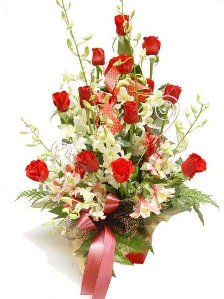 RED Roses with WHITE Orchids