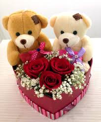 2 Teddies 6 inches each 3 red roses in same basket