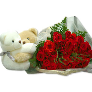 2 Teddies (6 inches) + 12 red roses