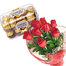 6 red roses 16 Ferrero rochers