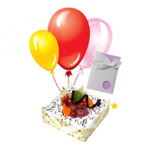 1/2 Kg Fresh Fruit Cake with 3 Air Filled Balloons and Card