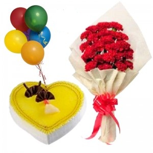 1 Kg Pineapple heart Cake with 5 Air Filled Balloon 12 Red Carnations
