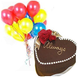 1 Kg chocolate heart Cake with 10 Air Filled Balloons