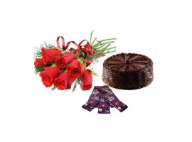5 Cadburys Silk chocolates with 6 red roses and Half kg chocolate cake