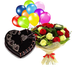 1 Kg Chocolate Heart Cake with 10 Air filled Balloon and 10 Red Yellow roses bouquet