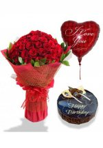 1/2 Kg Chocolate Cake with 1 red heart Air filled Balloon and 18 Red roses bouquet