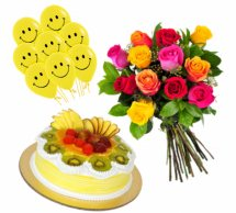 8 Air Filled Smiley Balloons with 8 Mix roses bouquet and 1/2 Kg Fresh Fruit cake