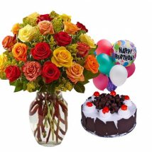 5 Air Filled Balloons with 12 Mix roses Vase and 1/2 kg Black Forest cake
