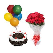 6 Air Filled Balloons with 8 red roses bouquet and 1/2 Kg Black Forest cake