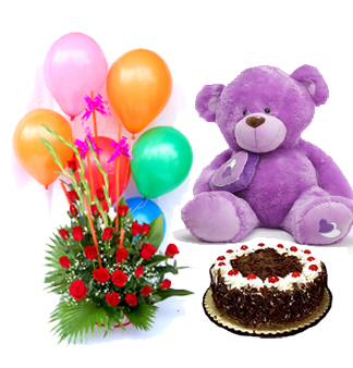 6 Air Filled Balloons with 12 red roses Basket and 1/2 Kg Black Forest cake with 12 inches Teddy (Teddy Colour May Vary)