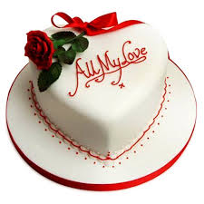 1 Kg White forest heart White icing ALL MY LOVE and 1 red rose
