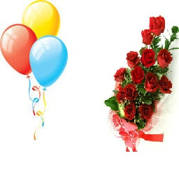 3 Air Balloons 12 Red roses in the bouquet
