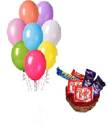 10 Air filled Balloons with Basket of chocolates(2 Kikat 2 dairy Milk 2 Perk)
