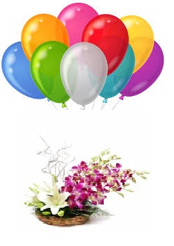 8 Air Balloons with 2 White lilies and 4 Purple orchids in a basket