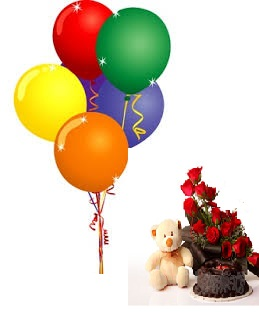 8 Air Balloons with 20 red roses basket 6 inches Teddy and 1/2 Kg Black forest Cake