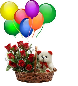 8 Air Blown Balloons With Red Roses 6 Inches Teddy In The Same Basket