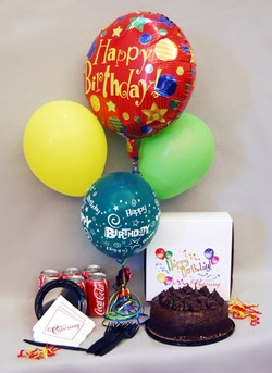 6 Coke Cans 1/2 kg chocolate cake with 4 Balloons