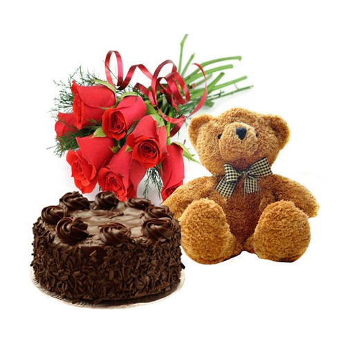 6 Red roses Halg Kg chocolate truffle cake and Teddy