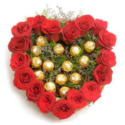 24 Red Roses Heart with 16 Ferrero rocher chocolates in middle