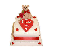 1/2 Kg square chocolate Cake icing I Love u and Teddy on top of cake