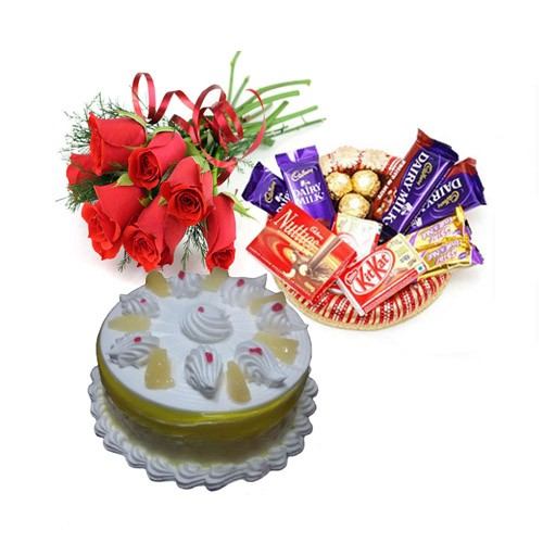 6 Red Roses Small Chocolate Basket And Half Kg Pineapple Cake
