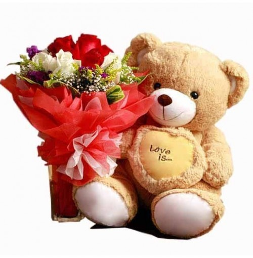 6 Mix roses with 12 Inches Teddy