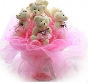 Bouquet of 9 Teddies ( 6 inches each)