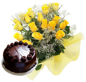 12 Yellow Roses +1/2 Kg chocolate Cake