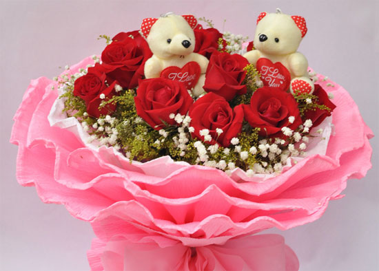 2 Teddies (6 inches each) in the same Basket with 12 Red�Roses