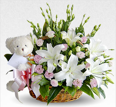 White Teddy(6 inches) White Carnation white liliums in same basket