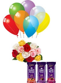 8 Air Blown Balloons with 8 Mix roses 3 Silk chocolates