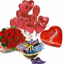 Heart Chocolate Box with 12 Red roses and Mix chocolate basket 10 Heart Air filled Balloons