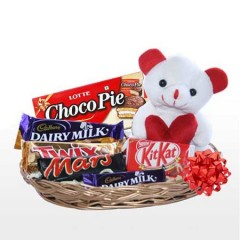 Small Basket of chocolates with teddy