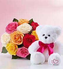 6 Mix roses with 6 Inches Teddy bear
