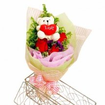 3 red roses with 6 inches Teddy in the same bouquet