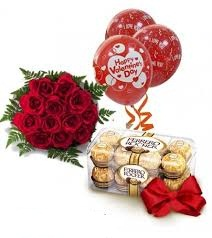 16 Ferrero rocher chocolates with 12 red roses and 3 Red Air filled Balloons