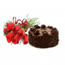 1/2 KG Chocolate truffle Cake and 6 red Roses Bouquet