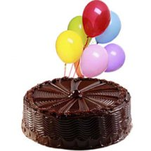 1 Kg Dark Chocolate cake with 12 Blown Balloons