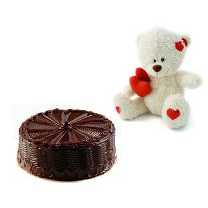 1/2 KG Chocolate Cake and 6 inches Teddy
