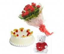 Teddy (6 Inches) 8 Red roses with 1/2 Kg Pineapple Cake