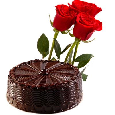 � Kg chocolate cake with 3 red roses