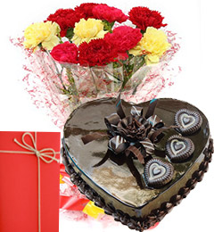 1 Kg heart chocolate cake Card and 12 Mix carnations bouquet