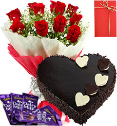 1 Kg Heart Dark Chocolate Cake with 12 red roses Card and 4 Dairy Milk chocolates
