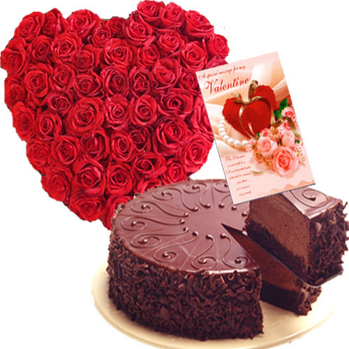 24 red roses heart with Half Kg chocolate cake and Card