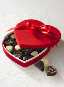 Heart shaped Chocolate Box in red wrapping