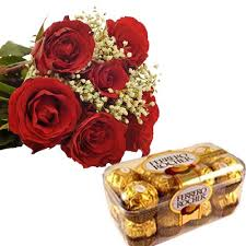 6 Red roses with 16 Ferrero chocolates