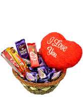 Cadburys mix chocolates in a basket and a 6 inches Teddy