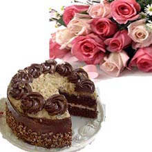 1/2 KG Cake and 6 Roses Bouquet