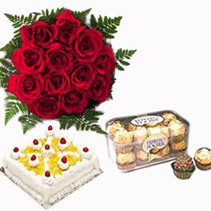 1/2 Kg Cake+12 Red roses Bouquet+16 Ferrero Rocher Chocolates