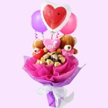 2 teddy bears 16 Ferrer chocolates in the same bouquet with 3 balloons